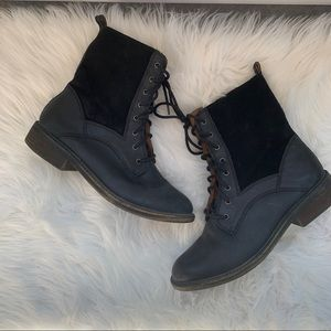 Lucky Brand Nickki Black Leather Combat Boots